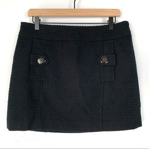 Banana Republic Black Lined Textured Wool Skirt